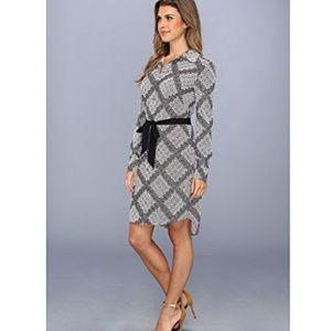 Vince Camuto Dresses - Vince Camuto Geometric Shirt Dress Tie Belt 6